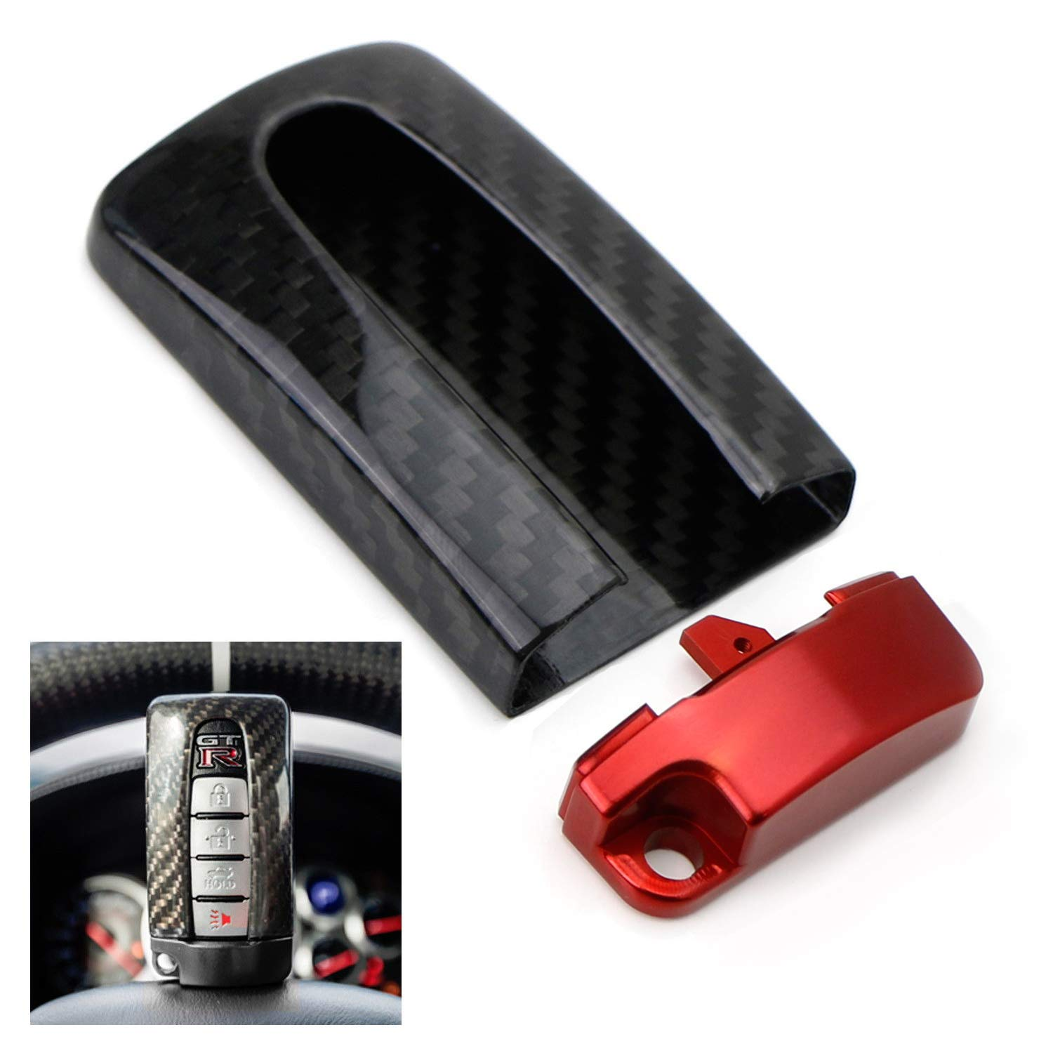 iJDMTOY (1) Real Carbon Fiber GTR Style Key Fob Protective Cover Case w/Red Base For Nissan or Infiniti Oval Shape Keyless Entry Remote