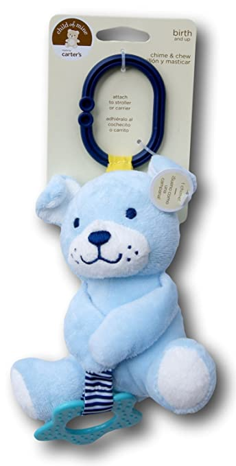 Amazon.com : Child of Mine Chime and Chew Soft Plush - Blue Dog with Teething Ring and Chime : Baby