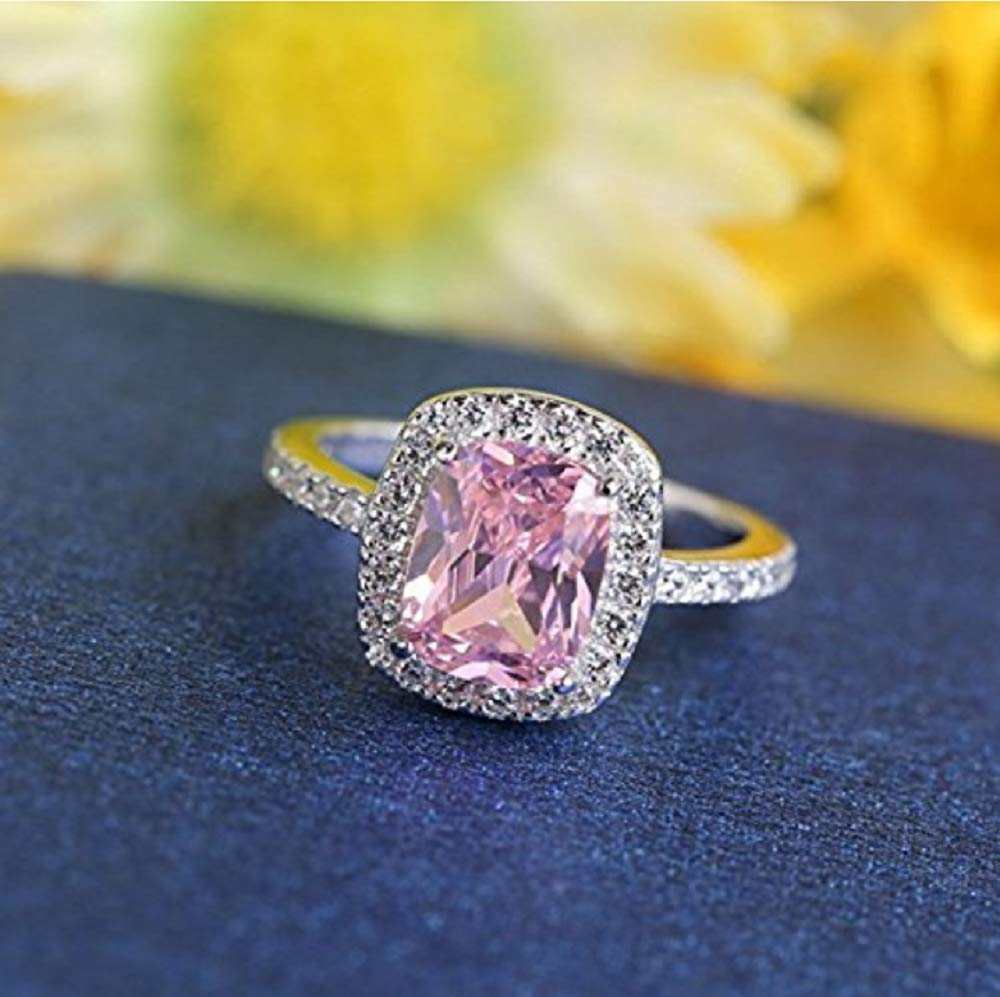 Zhiwen Charm Women 925 Silver Pink Sapphire Square /& CZ Gemstone Rings Lady Bridal Wedding Engagement Jewelry Size 6-10 US Code 9
