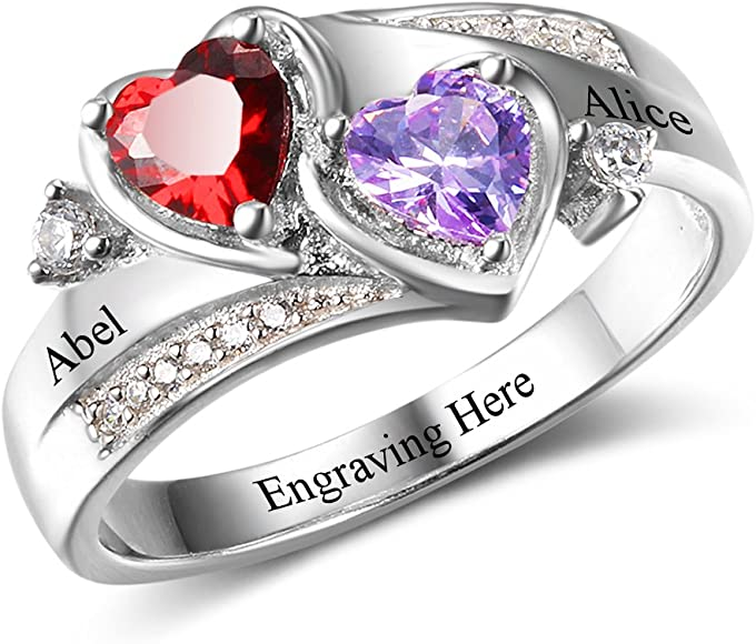 40e53710c Diamondido Personalized Simulated Birthstones Promise Rings for Her Engraved  Names Engagement Rings Bridesmaid Gifts (5