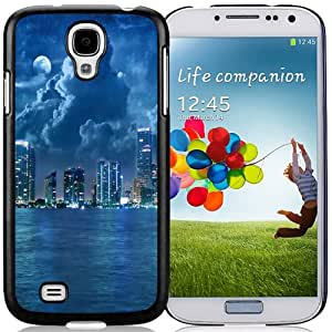 NEW Unique Custom Designed Samsung Galaxy S4 I9500 i337 M919 i545 r970 l720 Phone Case With City Lights At Night Blue Sea_Black Phone Case