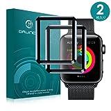 Apple Watch 42mm フィルム Dalinch Apple Watch ガラスフィルム3D全面保護 HD画面対応 気泡防止 装着簡単 Apple Watch Series 3 Series 2 強化ガラス ブラック(2枚入り)