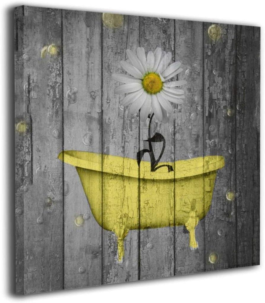 "12""x12"" Canvas Wall Art Prints Adorable Yellow Gray Daisy Flower Bubbles Bathtub-Rustic Farmhouse Shower Bathroom Photo Paintings Modern Decorative Giclee Artwork Decor-Wood Frame Gallery Stretched"