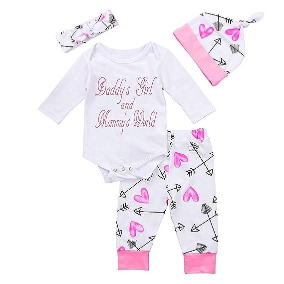 e023ebe90168 GRNSHTS Baby Girls 4Pcs Arrow and Heart Clothes Set Long Sleeve Pant ...