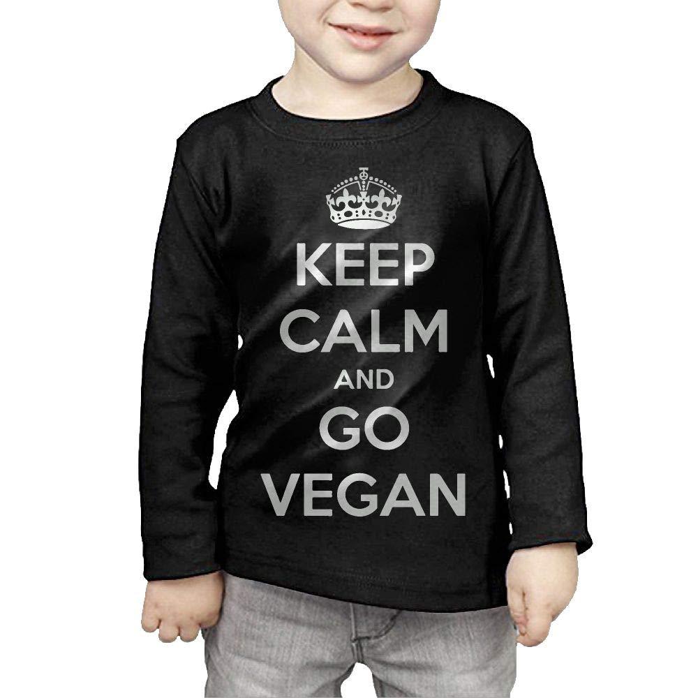 CERTONGCXTS Baby Girls Kids Keep Calm Go Vegan ComfortSoft Long Sleeve Tee