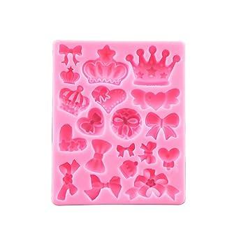 Dontdo - Molde de silicona para tartas con lazo, diseño de corona en 3D rosa: Amazon.es: Hogar