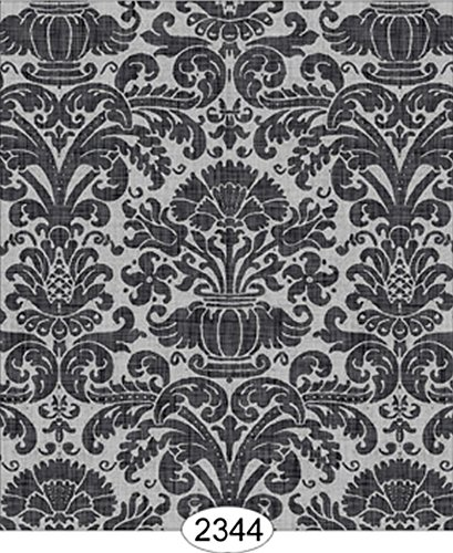 Dollhouse Wallpaper Annabelle Reverse Damask Black