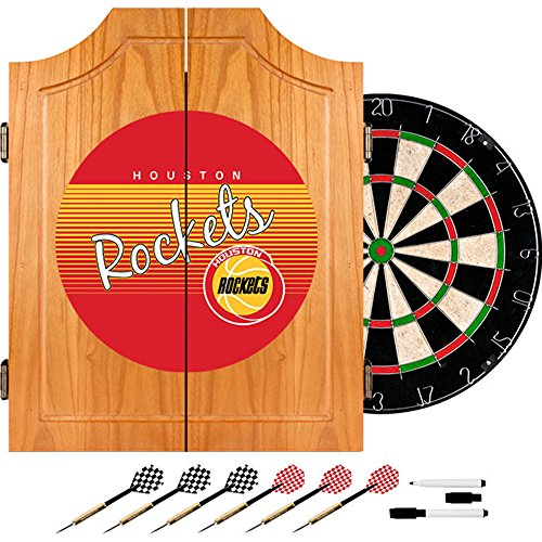 NBA Houston Rockets Wood Dart Cabinet, One Size, Brown by Trademark Global