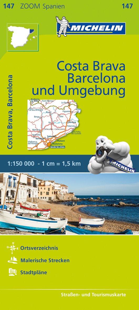 Michelin Costa Brava, Barcelona und Umgebung: Straßen- und Tourismuskarte 1:150.000 (MICHELIN Zoomkarten, Band 147)