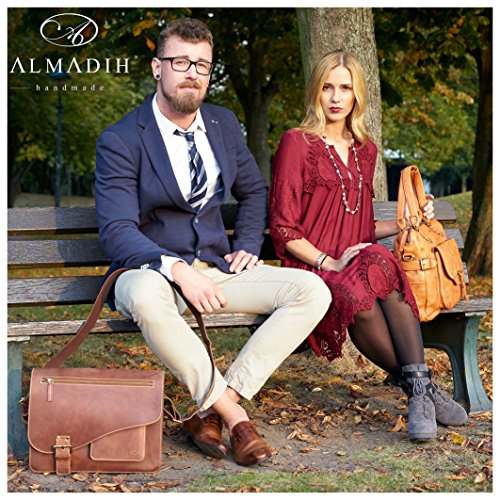 backpack Bag College Satchel vintage Briefcase Cross brown Leather Uni Shoulder Bag teacher JORDAN Bag Handmade Messenger Courier Body Tote School Business Genuine Work ALMADIH Laptop qOwpUS8