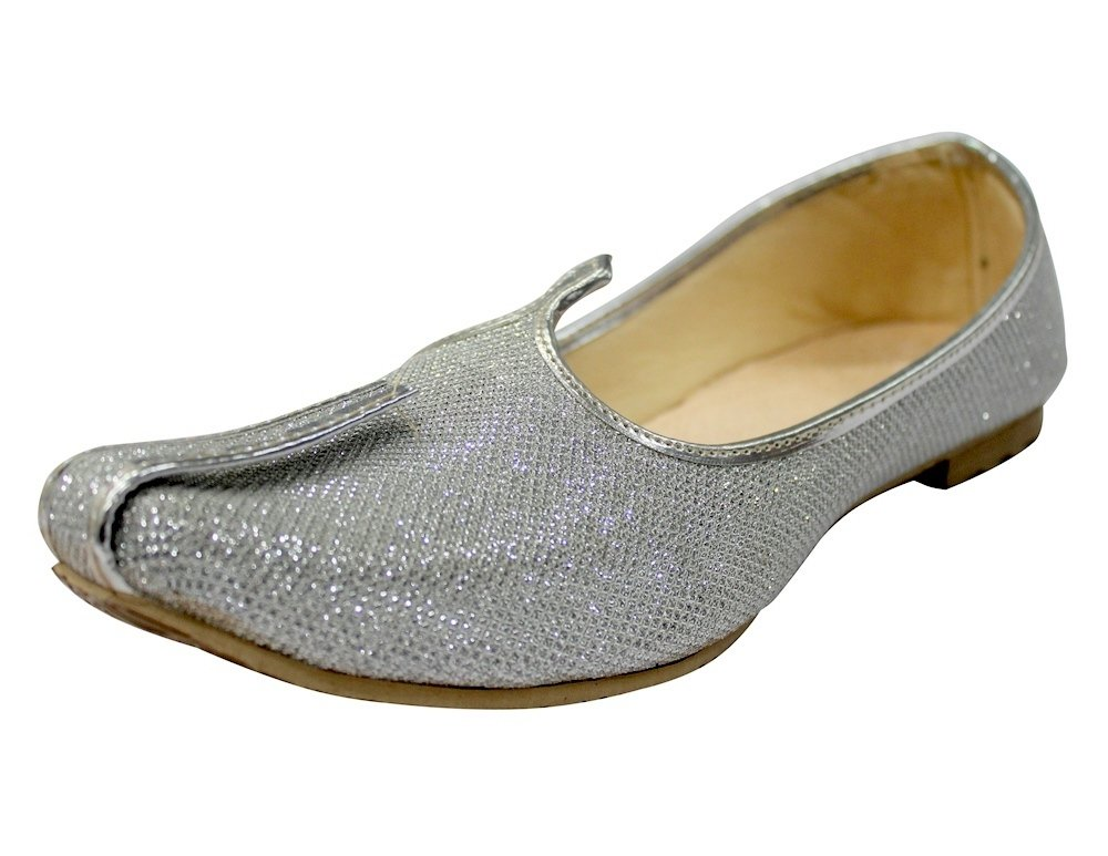 Step n Style Silver Glitter Mens Wedding Shoes for Sherwani Indian Shoes Jutti Mojari for Mens,Silver,11.5 D(M) US