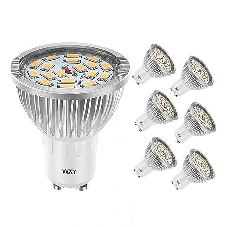WXY 7W GU10 Bombillas LED, 50W Bombilla Halógena Equivalente, 3200K Blanco Cálido, 140° Ángulo de ...