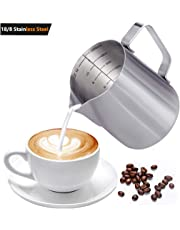GENNISSY 304 18/8 Stainless Steel Milk Frothing Pitcher - Garland Cup with Measurement Marking for Milk Tea Coffee and Latte Art(12,20 OZ)