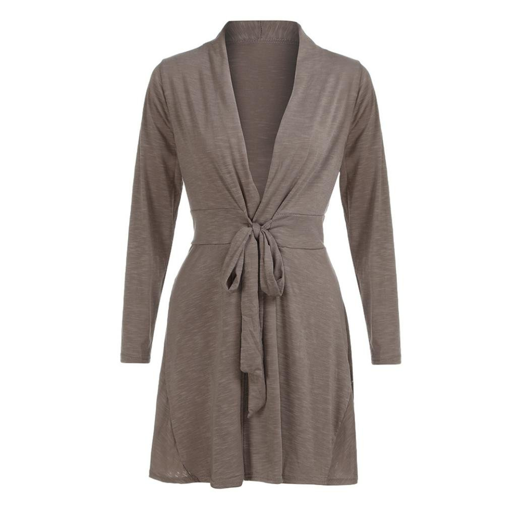Women Long Sleeve Stand Belt Lace up Cardigan Long Cotton Casual Autumn Coat by TOPUNDE