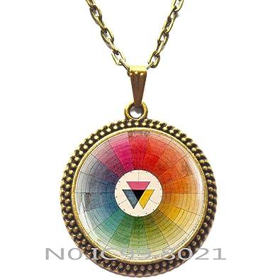 Amazon Com Fashion Necklace Fashion Pendant Color Wheel Necklace
