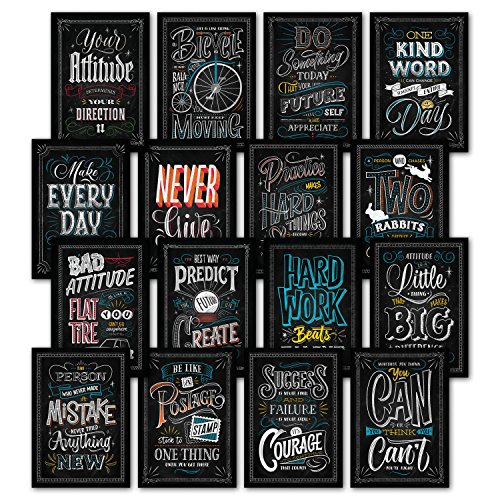 16 Inspirational Classroom Posters - Chalkboard Motivational Quotes for Students - Teacher Classroom Decorations 13 x 19 (PAPER) 002 Bulletin Board Decorations