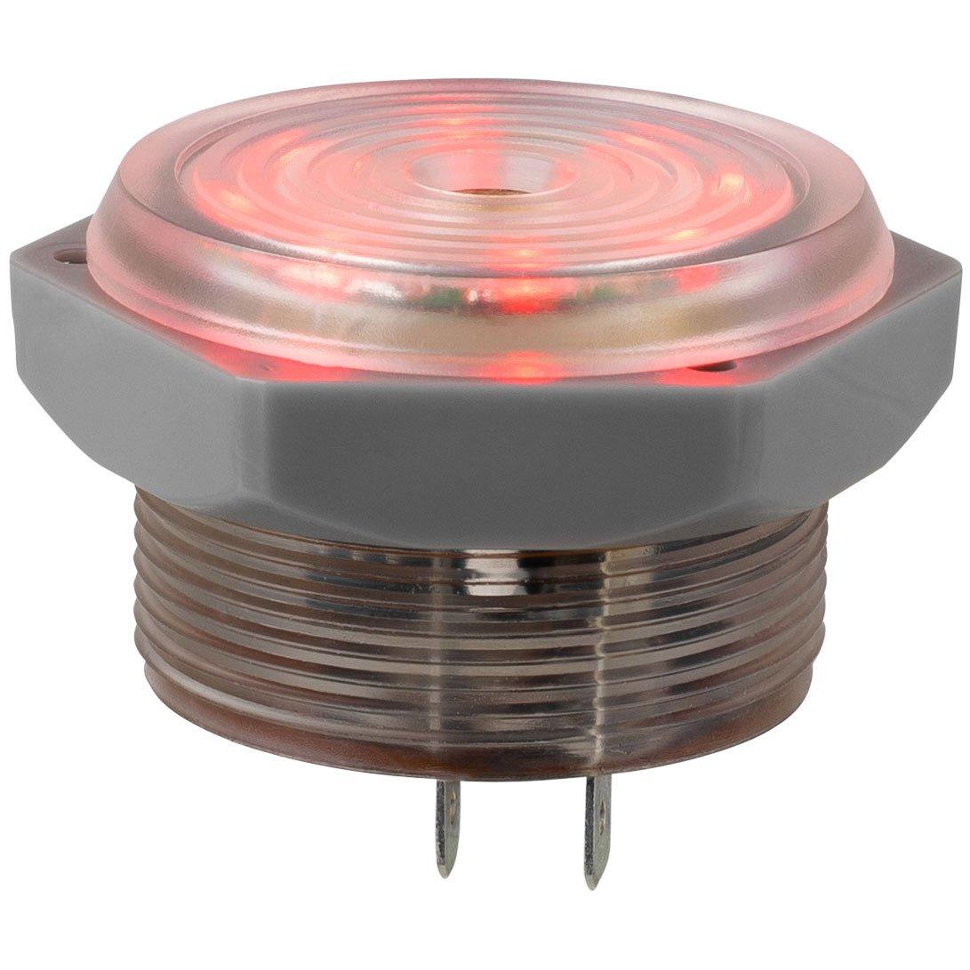 Parts Express Piezo Buzzer Alarm 8 LED Pilot Light Red LEDs 1.25'' Panel Mount 3-15 VDC 95dB