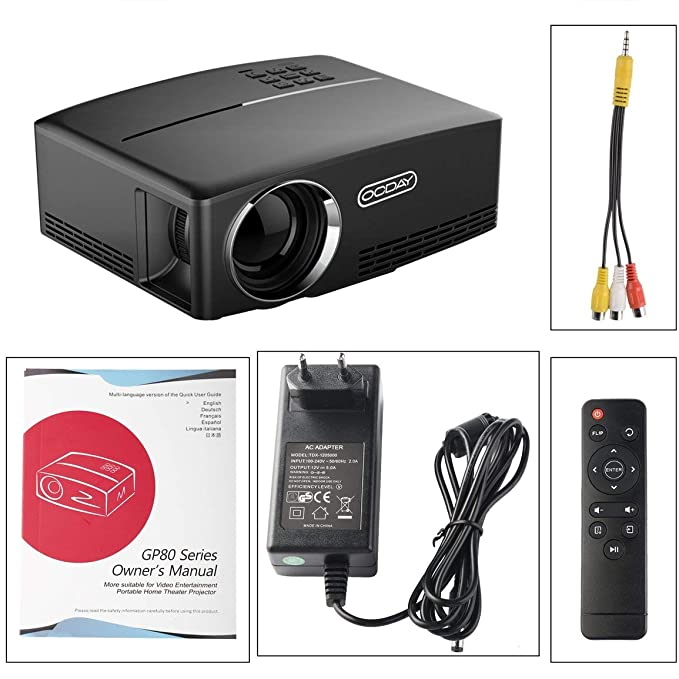 OCDAY 1080P Proyector LCD 1800 LM Multimedia Home Cine Teatro ...