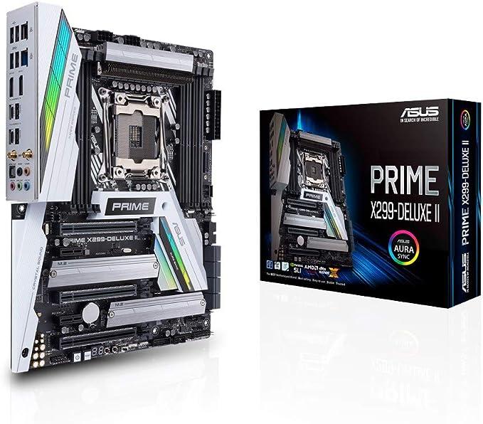 ASUS Prime X299-Deluxe II Scheda Madre Intel ATX LGA 2066 con Dissipatore VRM e M.2, DDR4 4266(O.C.) MHz, Wi-Fi 802.11ac, Triple M.2, Porte Type-C Thunderbolt 3, Supporto Intel VROC