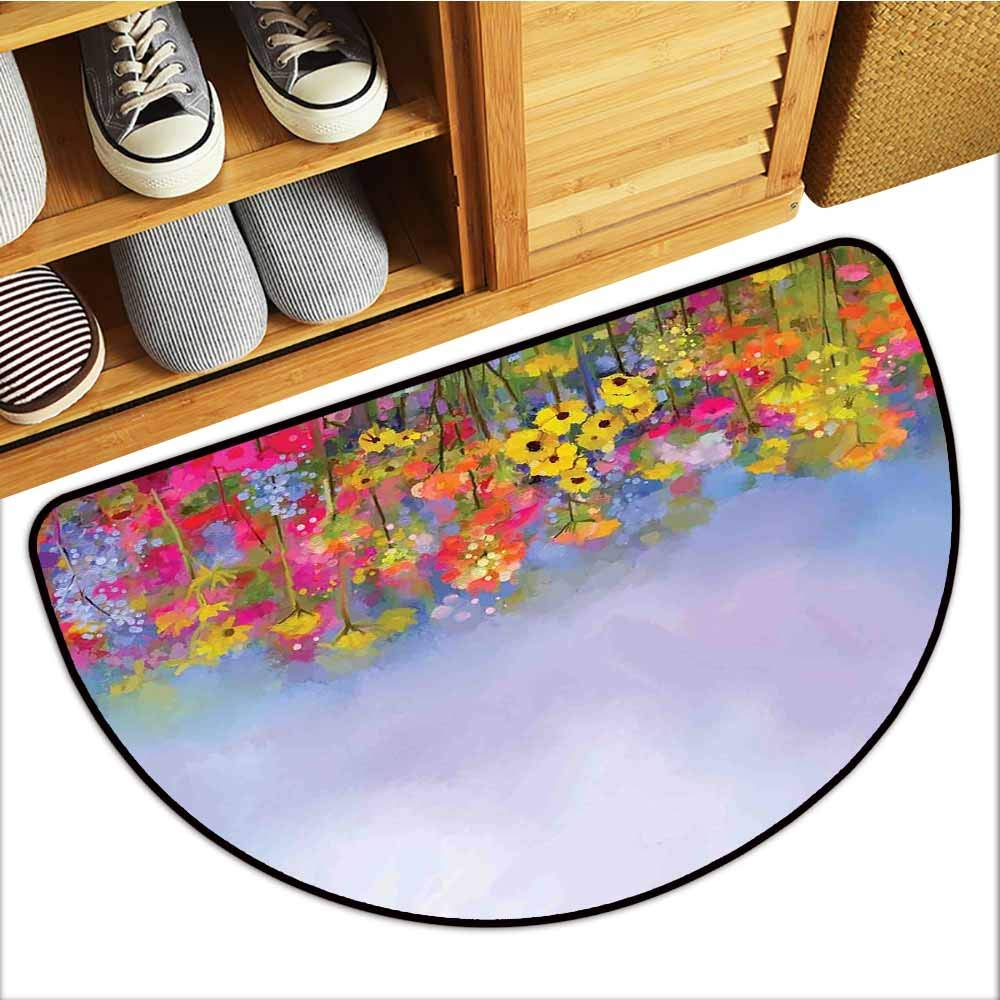 TableCovers&Home Magic Non Slip Door Mat, Flower Non-Slip Rugs for Kids Room, Blooming Tulips with Green Leaves in The Botanical Garden with Paint Effect Image (Multicolor, H20 x D32 Semicircle)