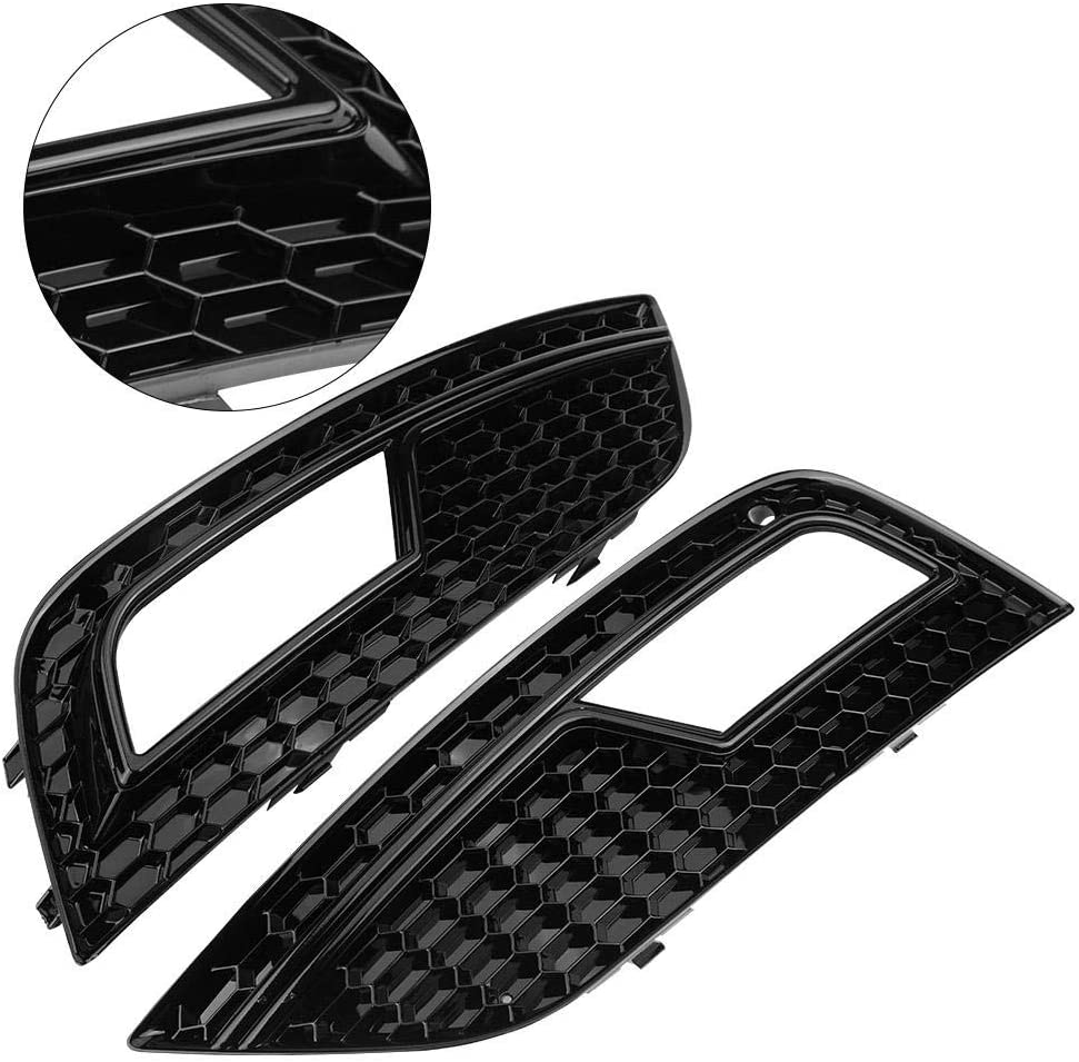 Yctze Car Fog Light Grilles,2pcs for RS4 Style Glossy Black Front Bumper for A4 B8.5 2013-2016