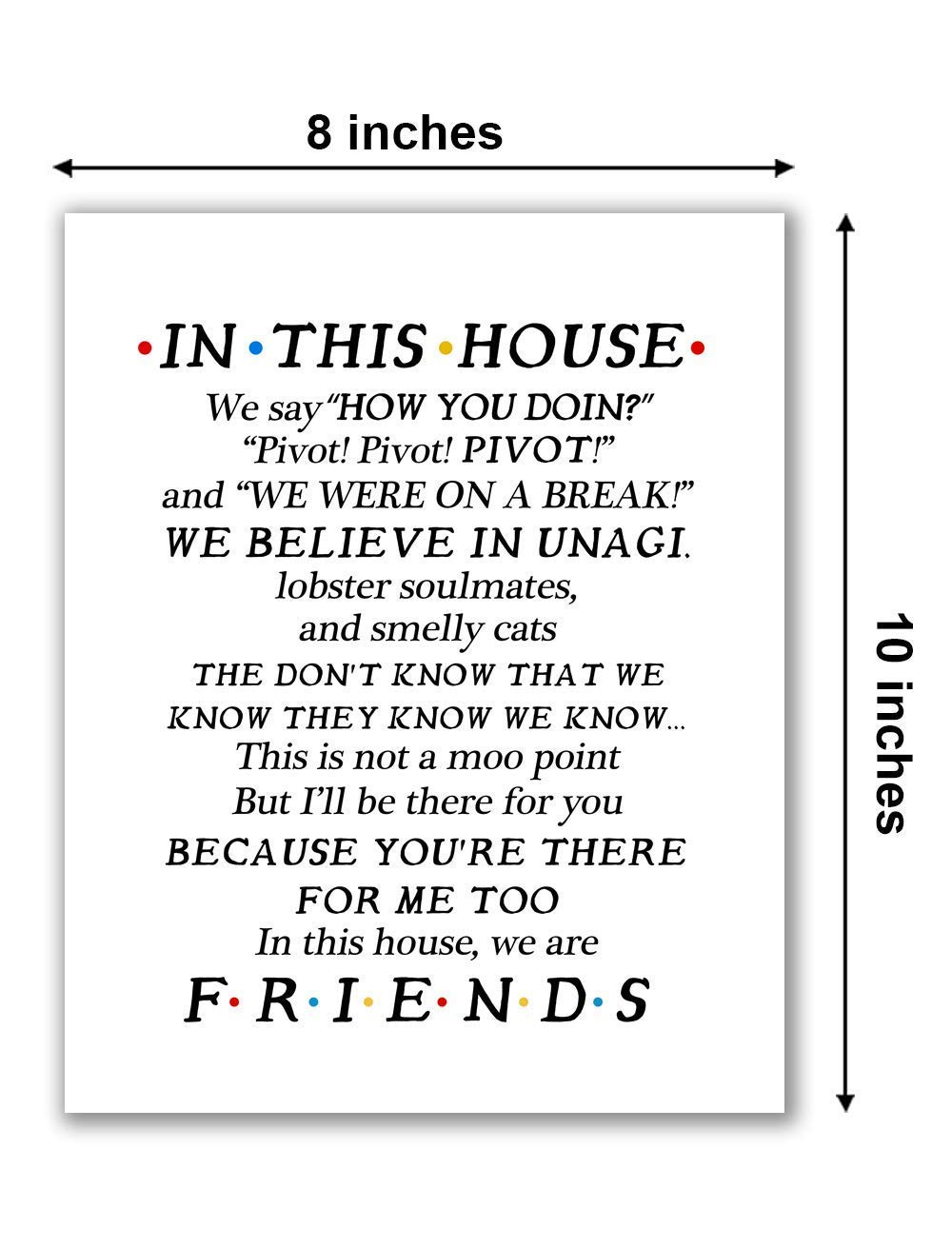 Friends In This House Poster We Say How You Doin Poster Without Frame US Supplie