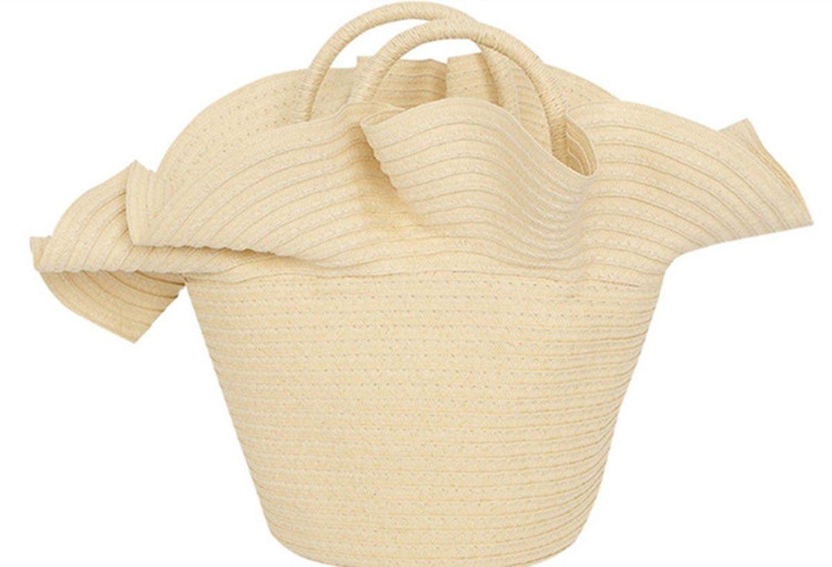 WFYJY-Outdoor-Urlaub Spitzen Stroh aus Tasche Ein Haufen Tasche Hand-Korb Mode badetasche Eimer-Tasche.