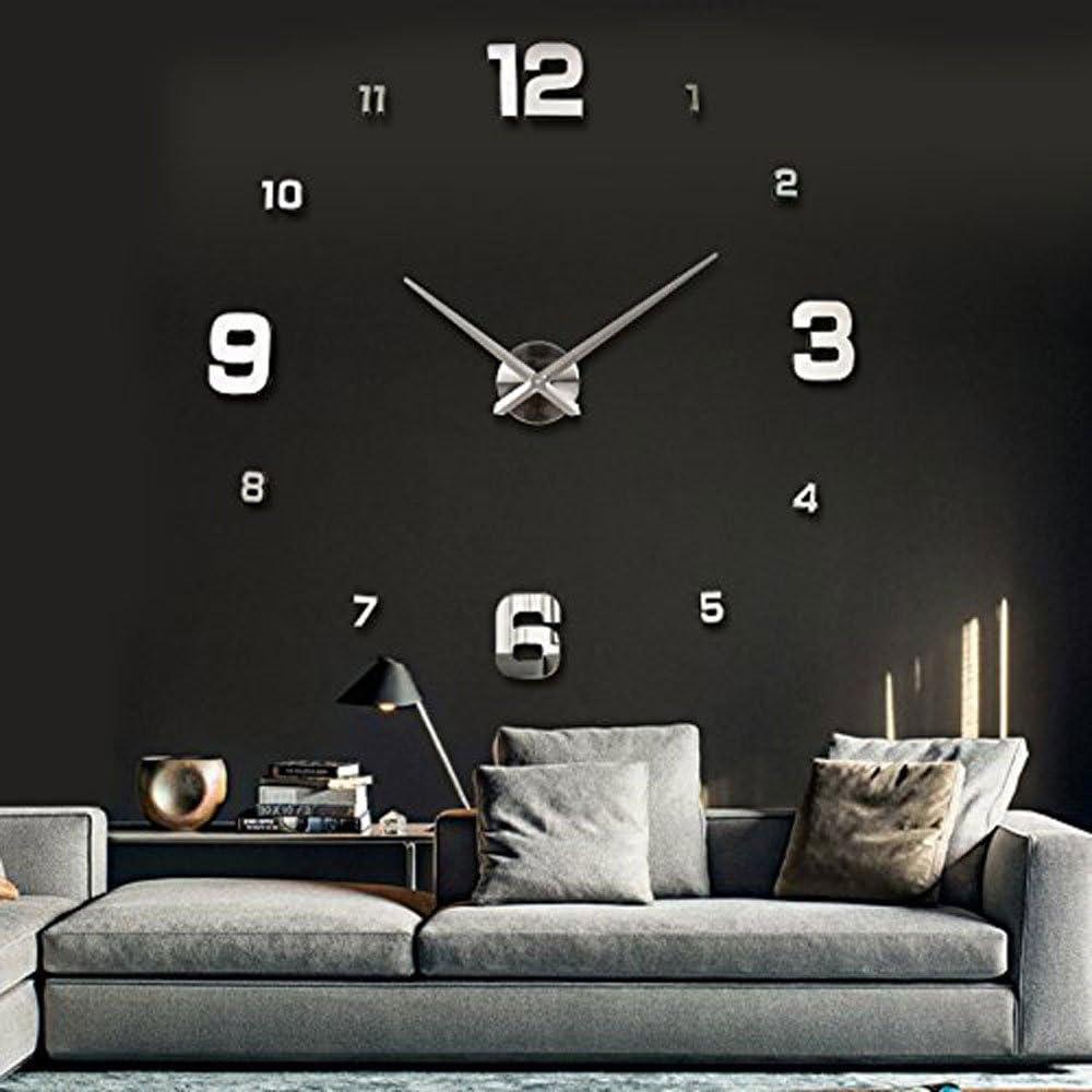 Relojes de Pared,Reloj Pegatina Pared,Relojes Modernos DIY,Reloj de Pared Adhesivo Reloj de Etiqueta de Pared Decoración,llenado Pared Vacía 3D Reloj, Ideal para la Casa Oficina Hotel Restaurante