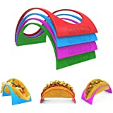 GINKGO Taco Holder Stand up Set of 12, 4 Colorful Plastic Taco Shell Holder Plate Protector Food Holder, Microwave Safe…