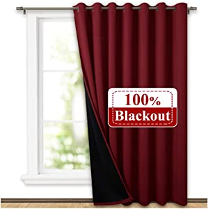NICETOWN Thermal Insulated 100% Blackout Drape, Noise Reducing Performance Slider Curtain Panel with Black Lining, Full Light Blocking Patio Door Drapery Christmas (Burgundy Red, 1 PC, W100 x L84)