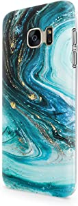 uCOLOR Case Compatible with Galaxy S7 5.1 inch Cute Protective Glossy Case Turquoise Blue Marble Slim Soft TPU Silicon Shockproof Cover Compatible Samsung Galaxy S7 (not fit for Galaxy s7 Edge)