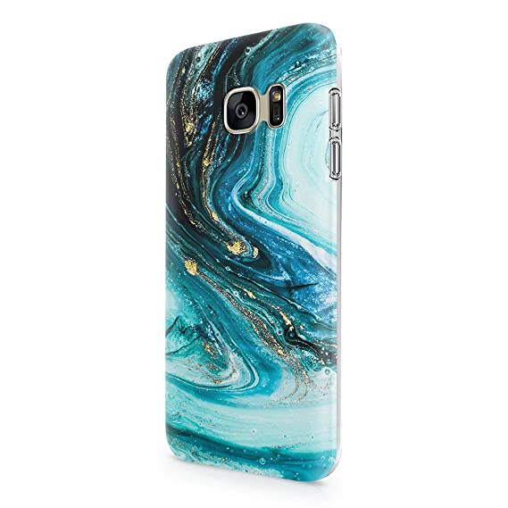 uCOLOR Case Compatible with Galaxy S7 5.1 inch Cute Protective Glossy Case Turquoise Blue Marble Slim Soft TPU Silicon Shockproof Cover Compatible ...