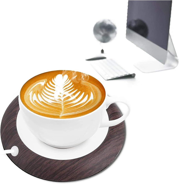 Tasse de Grain de Bois Mug Tapis de Boisson pour Bureau /à Domicile UniM Chauffe Tasse /à Caf/é Chauffants Tasse /à Caf/é pour Th/é Caf/é Lait USB Chauffe Tasse Electrique avec Base Antid/érapante