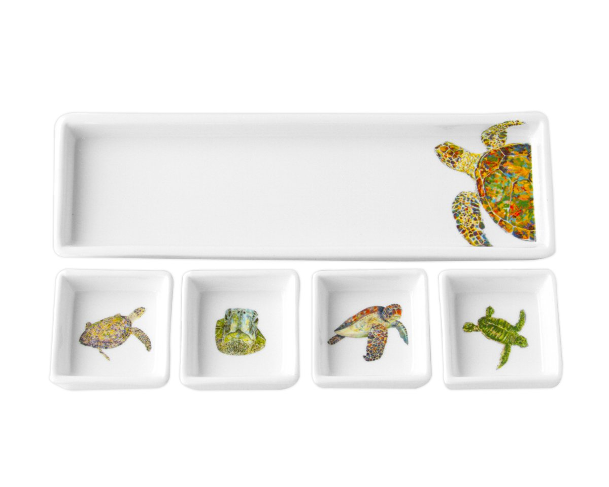 Kim Rody Creations Navigator Rectangle Dip Set That Hold Four Square Dishes - 11.25x3.25x3