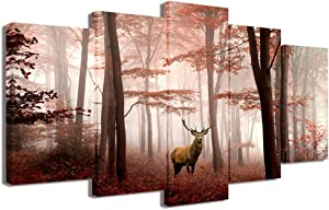 Visual Art Decor 5 Pieces Landscape Canvas Wall Art Deer in Misty Red Trees Forest Picture Animals Elk Prints Gallery Wrap Decoration for Modern Living Room Home Art (L-50xH-24)