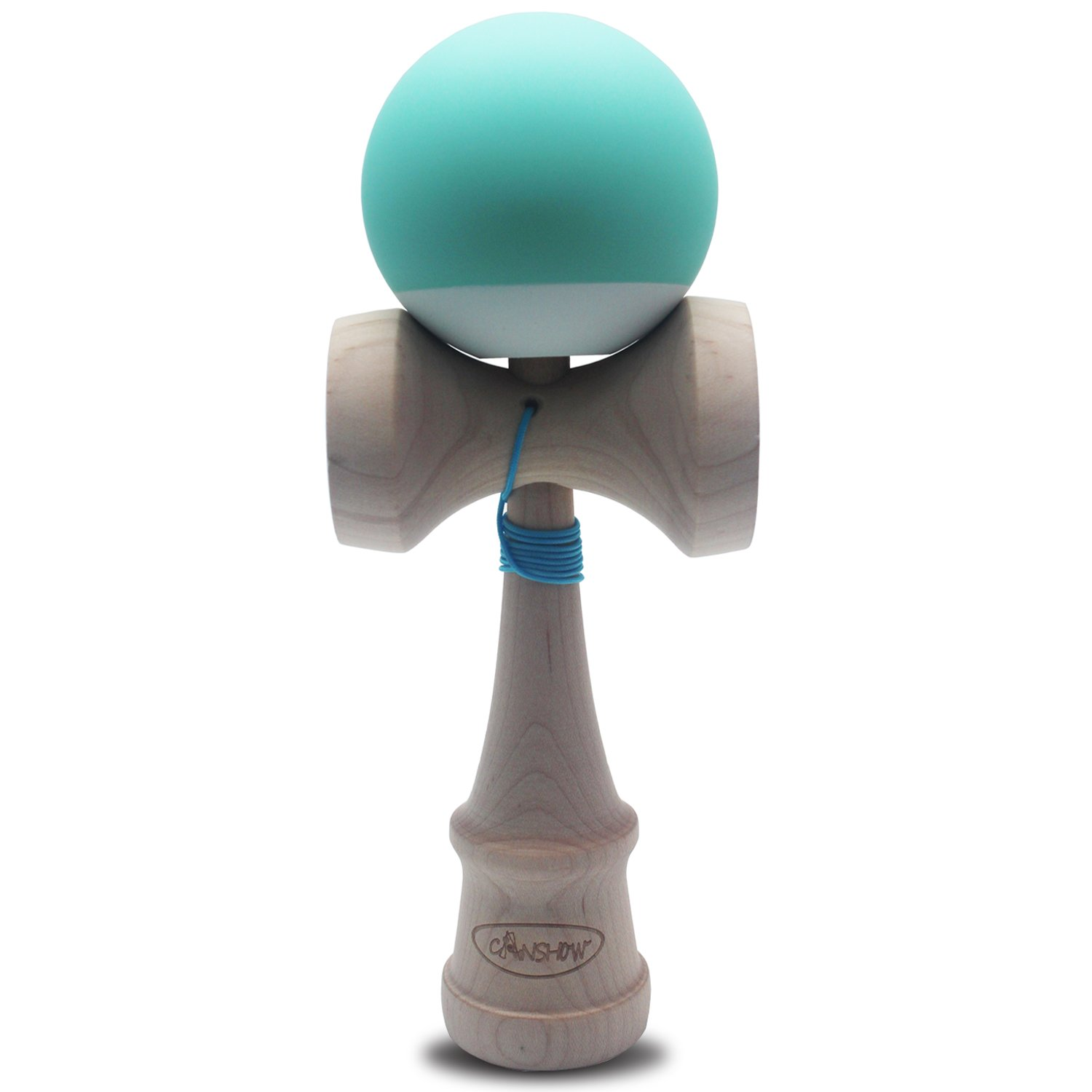 CANSHOW Kendama Maple Wood Toy - Rubber Blue Yellow and White Tama Deluxe Pro Model - with Extra String LTD