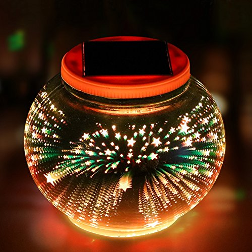 Color Changing Solar Powered Glass Ball Garden Lights, Aukora Solar Table Lights Waterproof Solar Led Night Light for Patio Garden Wedding Christmas Outdoor Decoration, Ideal Gift(Star Pattern) (Balls Garden Solar)