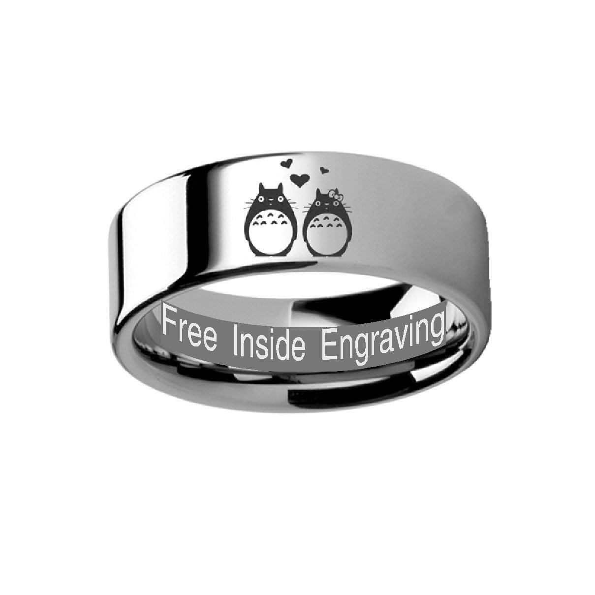 My Neighbor Totoro of Miyazaki Studio Ghibli - Couple Love Ring 8mm Tungsten Band Ring Engraved Free by Thorsten from Roy Rose Jewelry by Thorsten (Image #2)