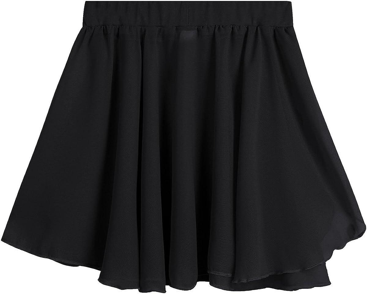 moily Kids Girls Basic Chiffon Pleated Ballet Dance Wrap Skirts Mini Pull-On Leotard Active Dress