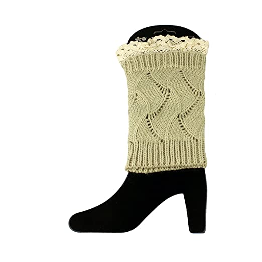 Knit Boot Cuff Topper Liner Leg Warmer With Lace Trim Wave Pattern