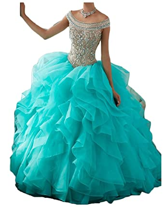 GreenBloom Sexy Off Shoulder Ball Gown Quinceanera Dresses 2017 Beaded Ruffles 0 Aqua