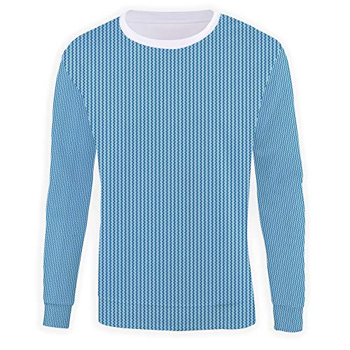 iPrint Men's Crewneck,Blue,Pullover Sweater