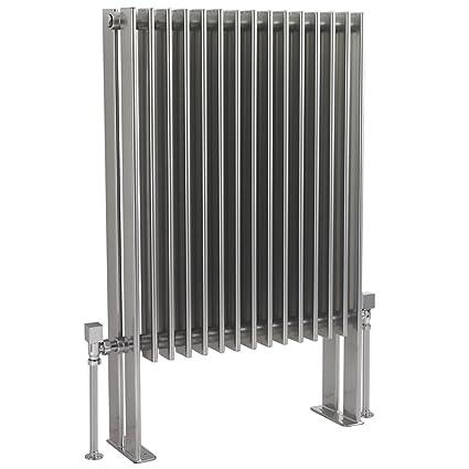Hudson Reed Fin Radiador Toallero doble diseño vertical de suelo de gris plata |