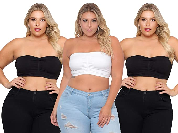 3e22c41f559db Dinamit Fashion 3-Pack Plus Size Seamless Strapless Bandeau Tube Top Bra