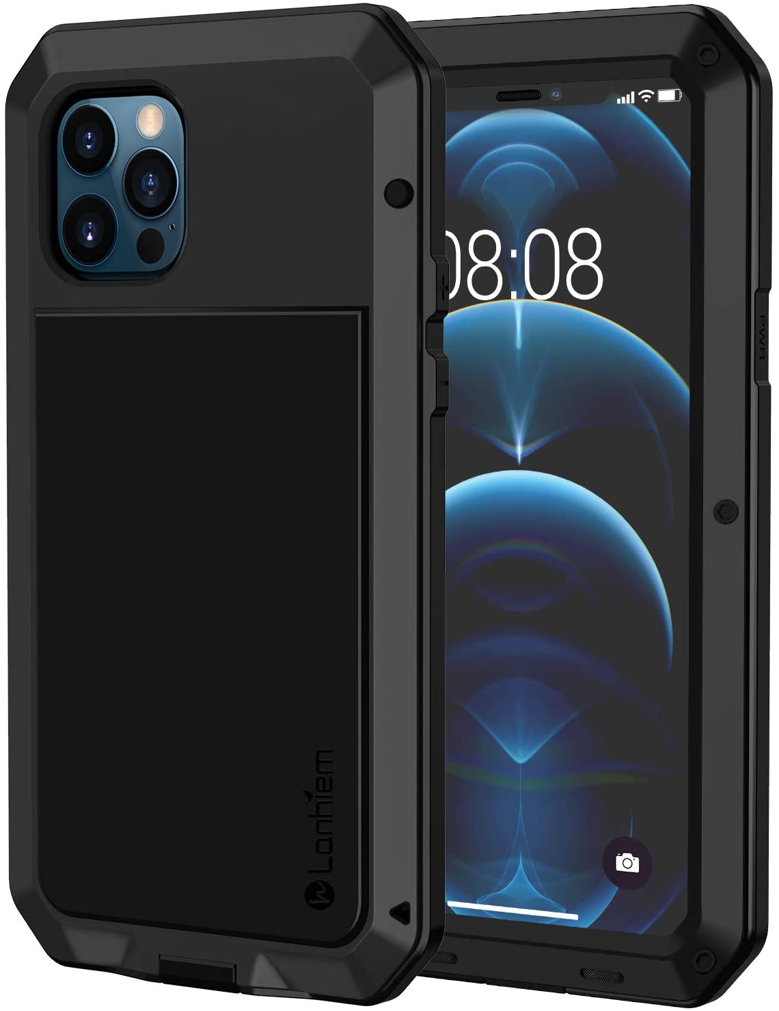 Lanhiem Funda iPhone 12, [Rugged Armour] Antigolpes Metal Estuche Protectora, Absorción de Choque y Duradera Fundas con Protector de Pantalla Vidrio Carcasa para iPhone 12 Pro, Negro