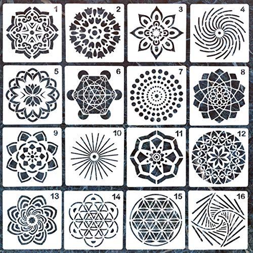 16 Pack Mandala Dotting Stencils Template,Mandala Dotting Stencils Mandala Dot Painting Stencils Painting Stencils for Painting on Wood,Airbrush and Walls Art