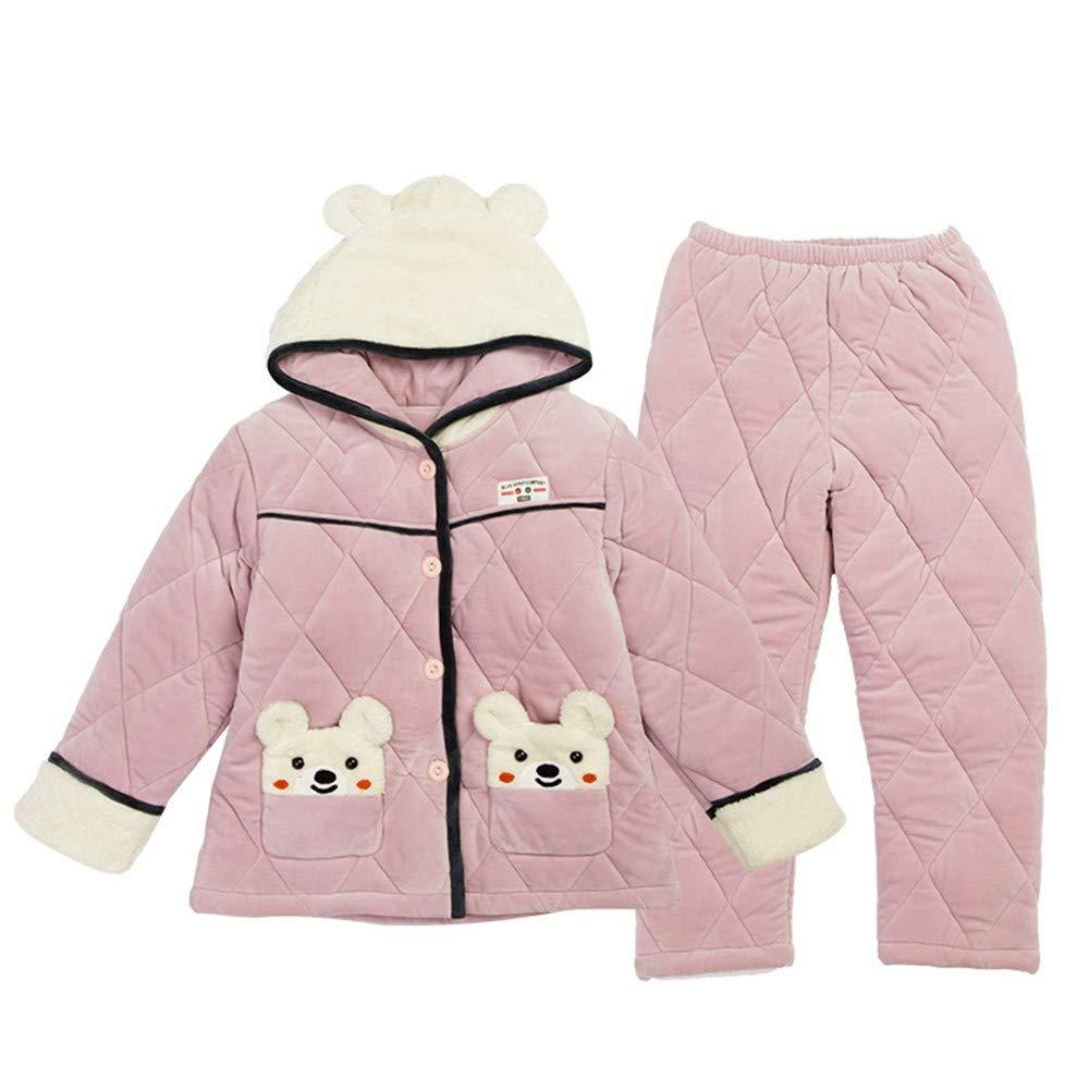 OPPP Pijamas de niños Niñas Acolchadas Pijamas de Invierno de Tres ...