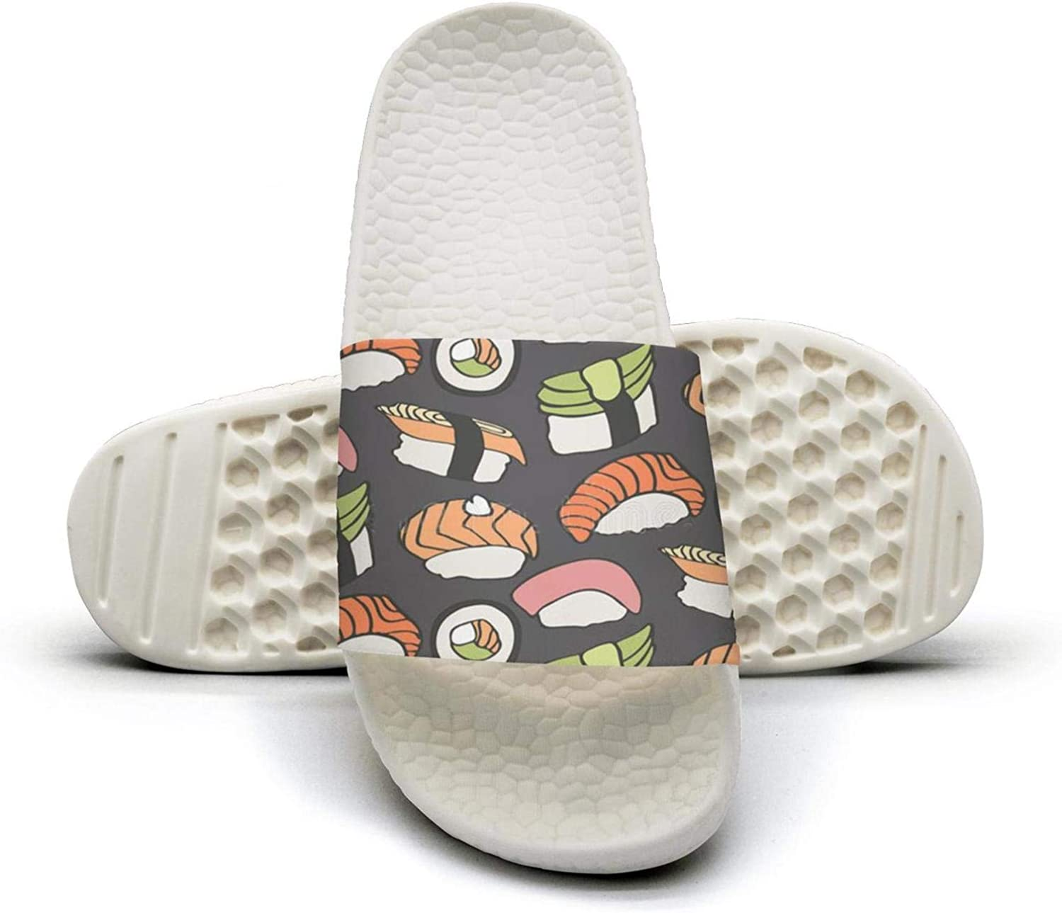 Sushi and Rolls on Pink Women's Soft Bottom Open Toe Slippers Shower Sandals Color Printed Suitable for Beach