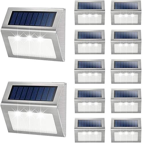 Solar Deck Lights Outdoor JSOT Warm Light Bright Step Stairs Light with Light Sensor Waterproof Stainless Steel Fence LED Lamp Lighting Patio Garden Pathway Walkway Security Lamps 12 Pack
