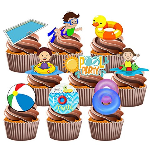 Price comparison product image AKGifts Swimming Kids Pool Party Pack,  36 Cup Cake Toppers - Edible Stand Up Decorations